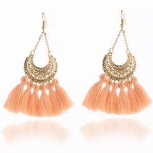 Crescent Moon Dangle Tassel Earrings Gold & Peach